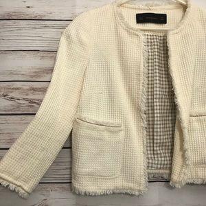 Zara Cream Nude Tweed Blazer Jacket Small